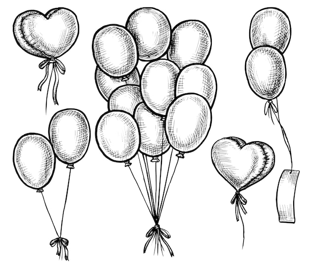 Ручной обращается воздушный шар. черно-белые рисованной летающий праздничный гелиевый шар каракули эскиз связки и одной иллюстрации. день рождения, годовщина, набор атрибутов дня святого валентина