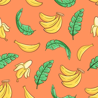 Hand drawn banana and banana leaves seamless pattern