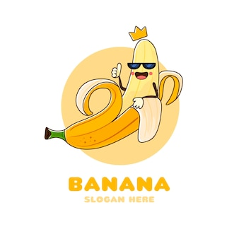 Hand drawn banana character logo
