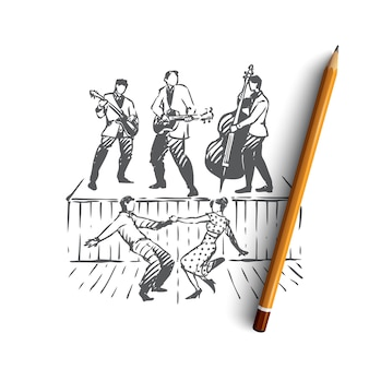 Hand drawn band with dancers
