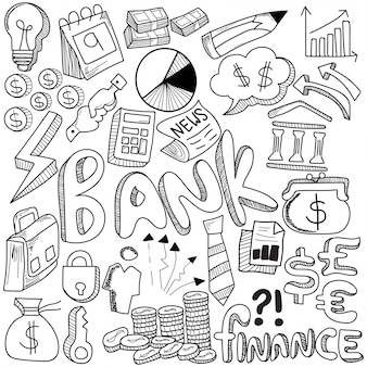 Hand drawn of banking and media strategy doodles elements