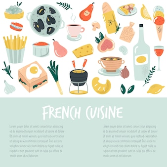 Ручной обращается баннер, фон с французской кухней. вкусная векторная иллюстрация.
