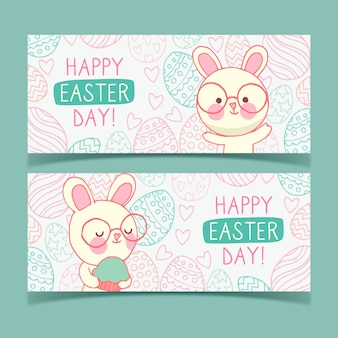 Hand drawn banner for easter with bunnies and glasses