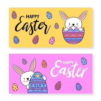 Hand drawn banner for easter with eggs and rabbits