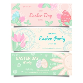 Hand drawn banner for easter with flowers and eggs
