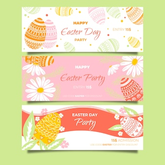 Hand drawn banner for easter with spring flowers