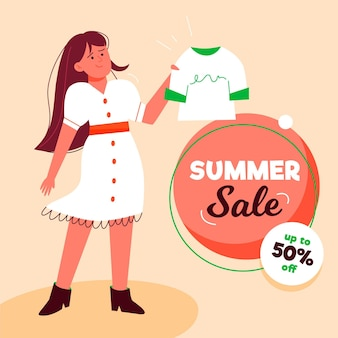 Hand drawn banner hello summer sale
