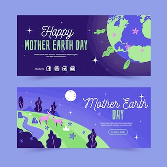 Hand drawn bannermother earth day set