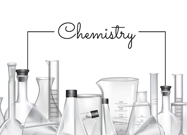 Hand drawn banner or poster background with place for text and chemical laboratory glass tubes illustration