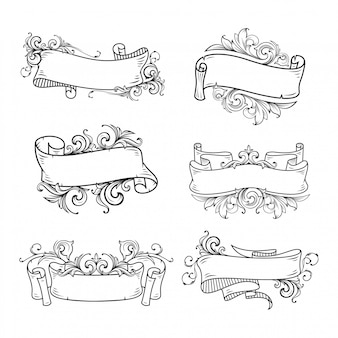 Hand drawn banner set with floral baroque