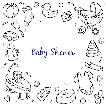 Hand drawn banner template of baby doodle