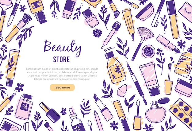 Hand drawn banner template with makeup beauty cosmetic