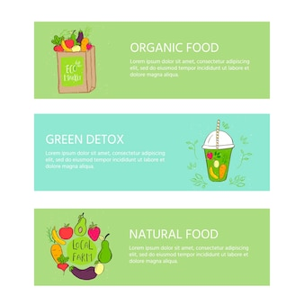 Hand drawn banner with  glass and smoothies. apple, berry, banana, carrot, lemon green detox. organic fruit shake cocktail . eco healthy ingredients. vector illustration for restaurant, bar, menu.