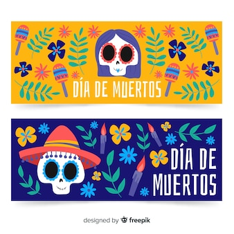 Hand drawn banners for day of the dead with skulls