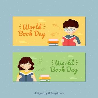 世界の本の日の手描きのバナー