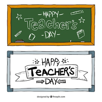 Hand-drawn banners for teacher's day