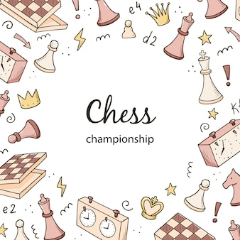 Шаблон рисованной баннеров с элементами мультяшной шахматной игры