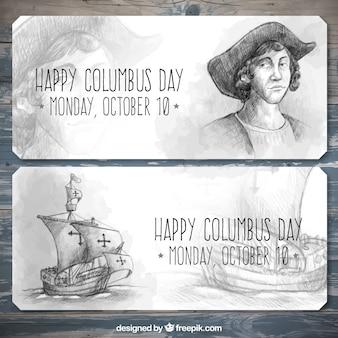 콜럼버스의 날을 축하하기 위해 손으로 그린 배너
