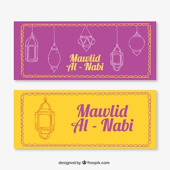 Hand-drawn banners with lamps for mawlid
