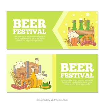 Hand drawn banners with oktoberfest products