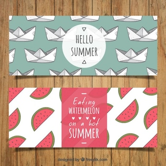 Hand drawn banners with paper boat and watermelon