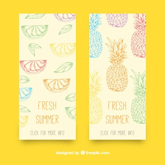 Hand-drawn banners with summer fruits