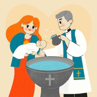 Illustrazione di concetto di battesimo disegnato a mano