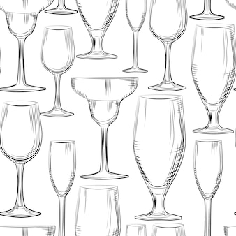 Hand drawn bar glassware seamless pattern. engraving style.