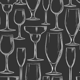 Hand drawn bar glassware seamless pattern.