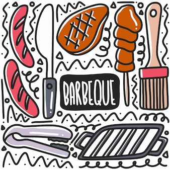 Hand drawn barbeque equipment doodle set with icons and design elements