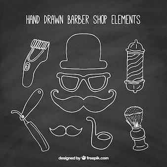 Hand drawn barber shop elements in blackboard style