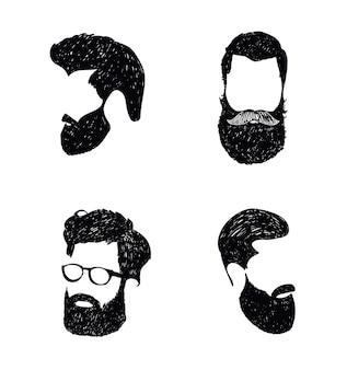 手描きの理髪店のロゴ