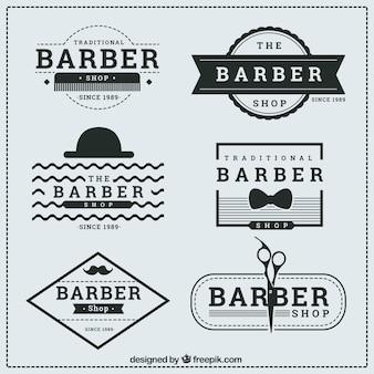 Hand drawn barber shop logos set
