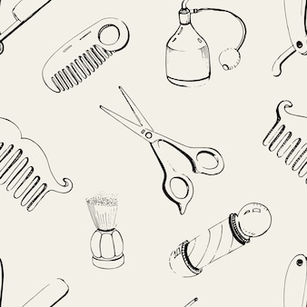 Hand drawn barbershop seamless with accessories comb, razor, shaving brush, scissors, barber s pole and bottle spray. black and white  illustration pattern.