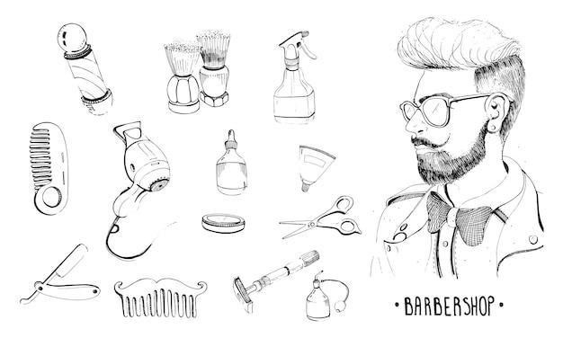 Ручной обращается набор для парикмахерских. коллекция аксессуаров расческа, бритва, кисточка для бритья, ножницы, фен, парикмахерская штанга и спрей для бутылочек. контурная векторная иллюстрация