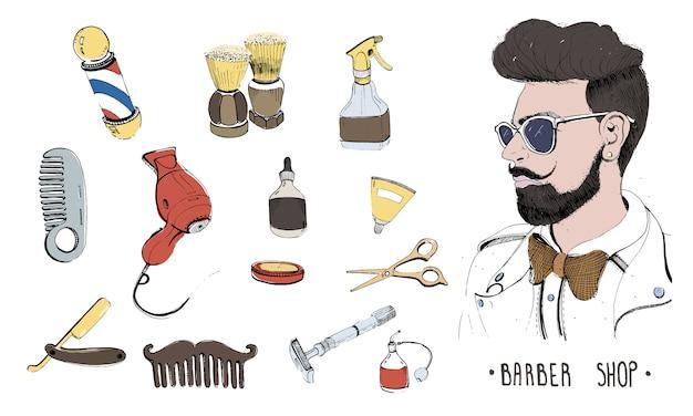 Ручной обращается набор для парикмахерских. коллекция аксессуаров расческа, бритва, кисточка для бритья, ножницы, фен, парикмахерская шеста и баллончик с распылителем.