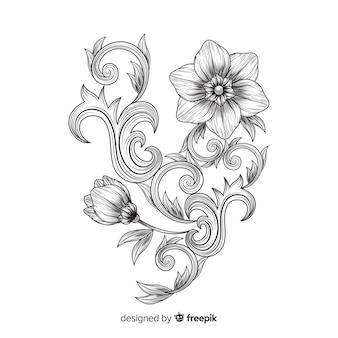 Hand drawn baroque flowers