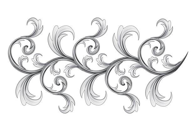 Нарисованный вручную барочный орнамент-бордюр