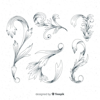 Hand drawn baroque types of flowers