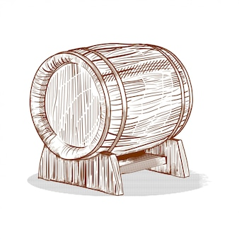 Hand drawn barrel  in engraving style