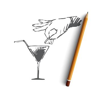 Ручной обращается бармен с коктейлем