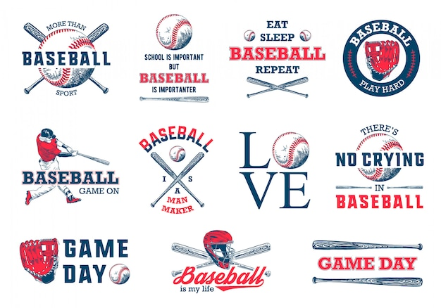 Hand drawn baseball logo template set