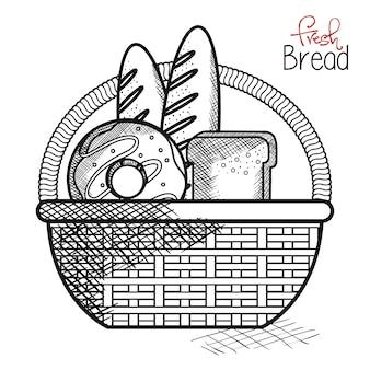 Ручная корзина с хлебобулочными изделиями на белом фоне. векторные иллюстрации. Premium векторы