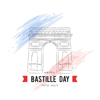 Hand drawn bastille day background