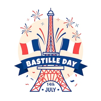 Hand drawn bastille day concept