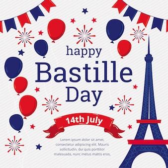 Hand drawn bastille day illustration Free Vector