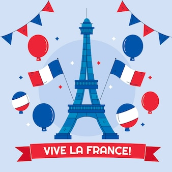 手描きのフランス革命記念日イラスト Premiumベクター