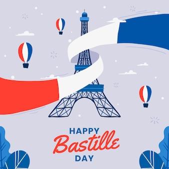 Hand drawn bastille day illustration