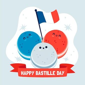 手描きのフランス革命記念日イラスト