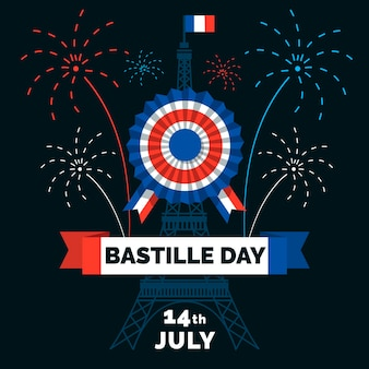 Hand drawn bastille day with text